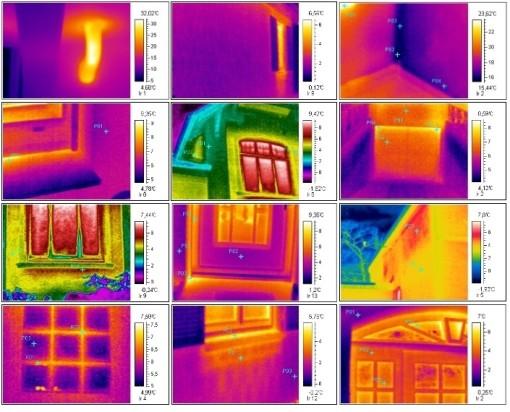 Wärmebild, Infrarot Bild Muster, energetische Schwachstelle